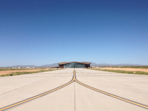 gateway to space in the distance at Spaceport America