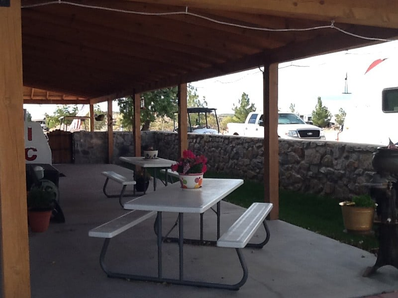 picnic benches at Cedar Cove RV Park, Elephant Butte NM