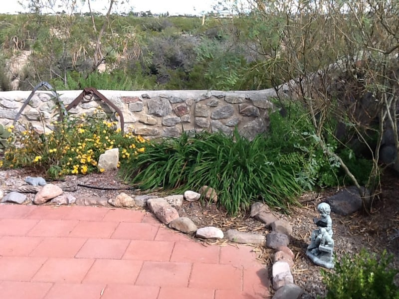 garden and rock wall at Cedar Cove RV Park, Elephant Butte NM