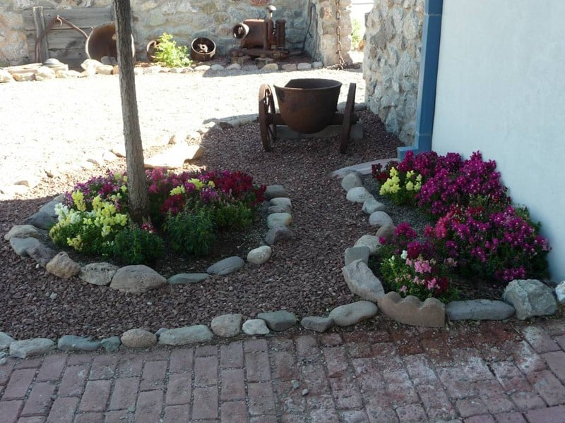 flower beds at Cedar Cove RV Park, Elephant Butte NM