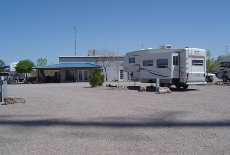 club house and RV parked at Cedar Cove RV Park, Elephant Butte NM
