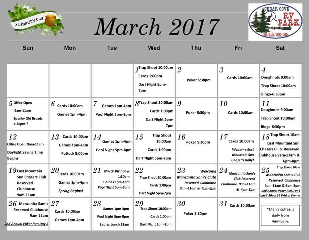 Cedar Cove RV Park activities for March