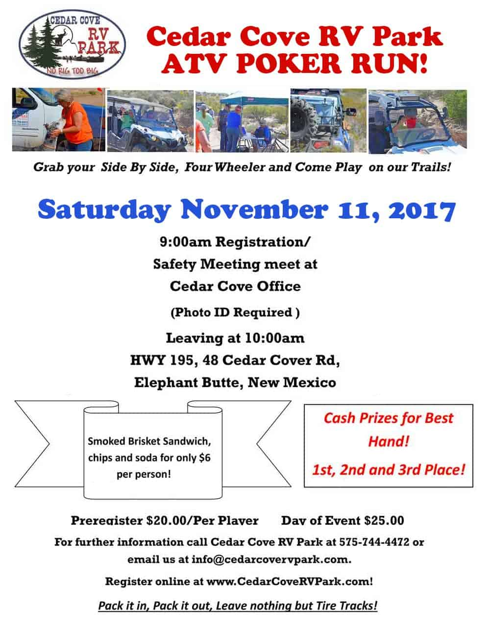 ATV Poker Run November 11, 2017, Cedar Cove RV Park