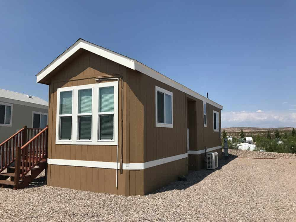 brown park model exterior at cedar cove rv park