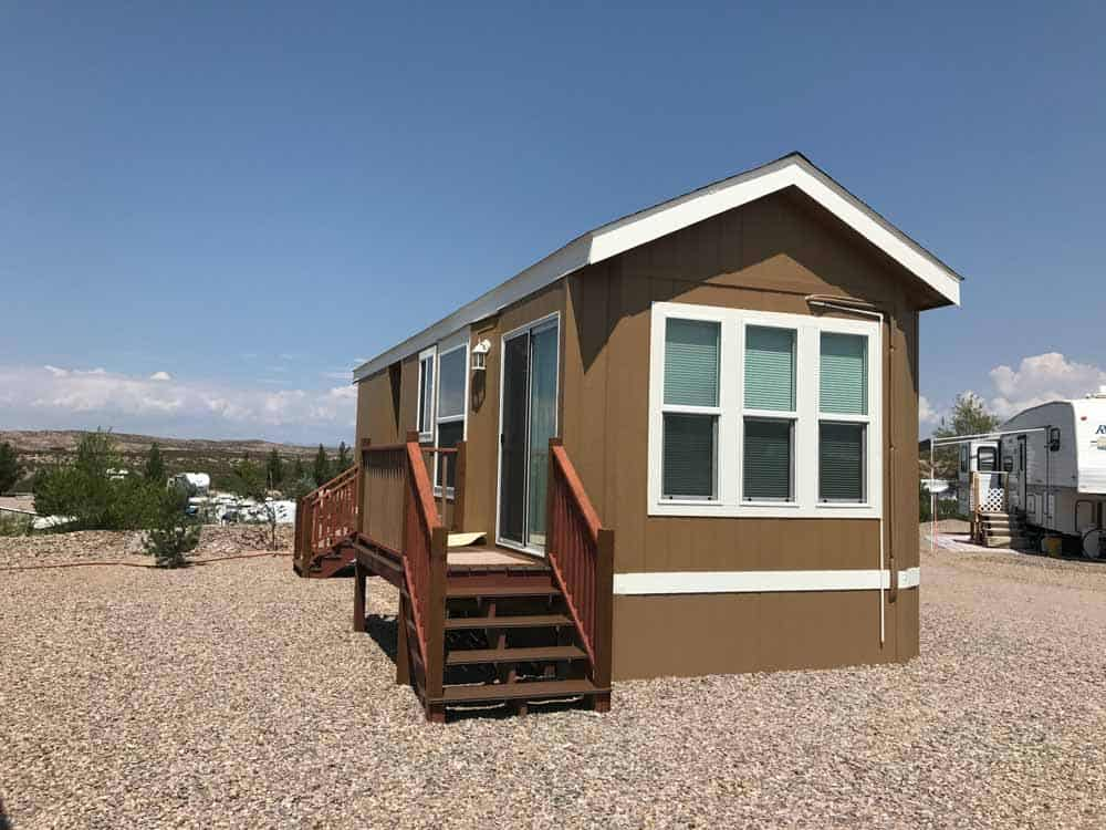 brown park model mini decks at cedar cove rv park