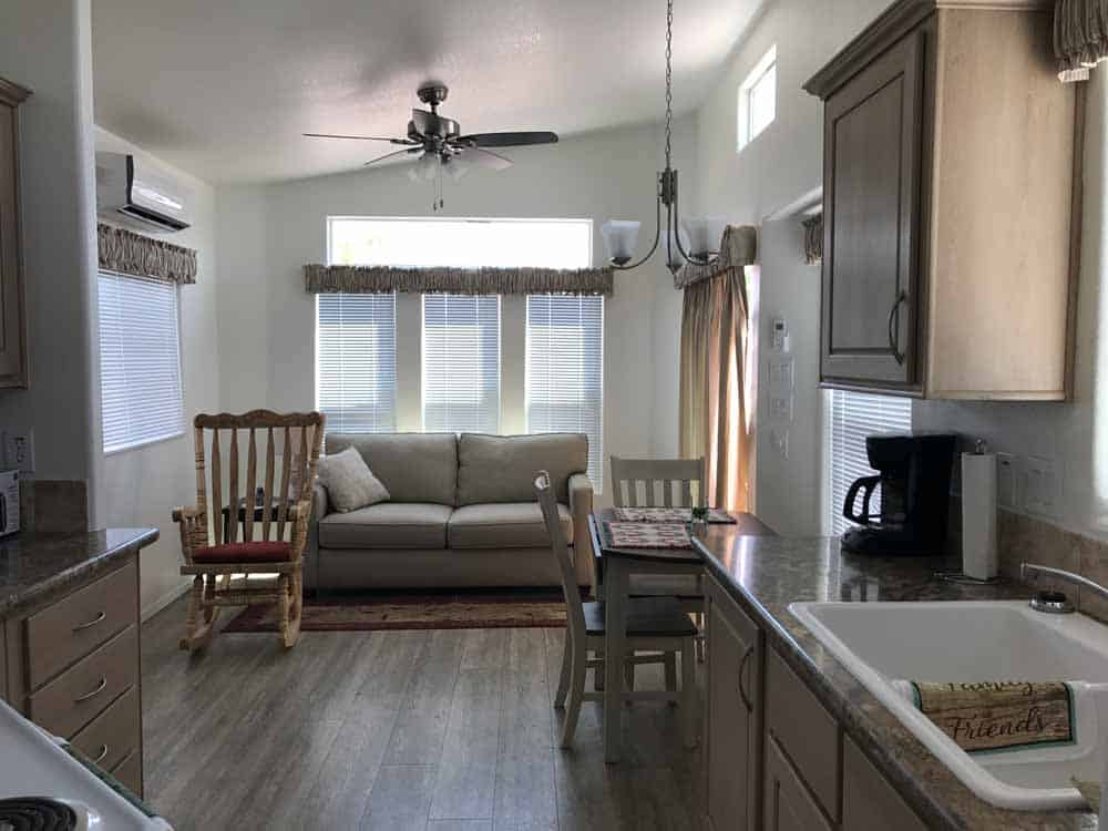 tan park b model living room at cedar cove rv park