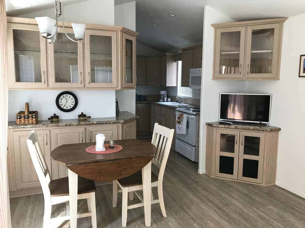 tan park model breakfast nook at cedar cove rv park