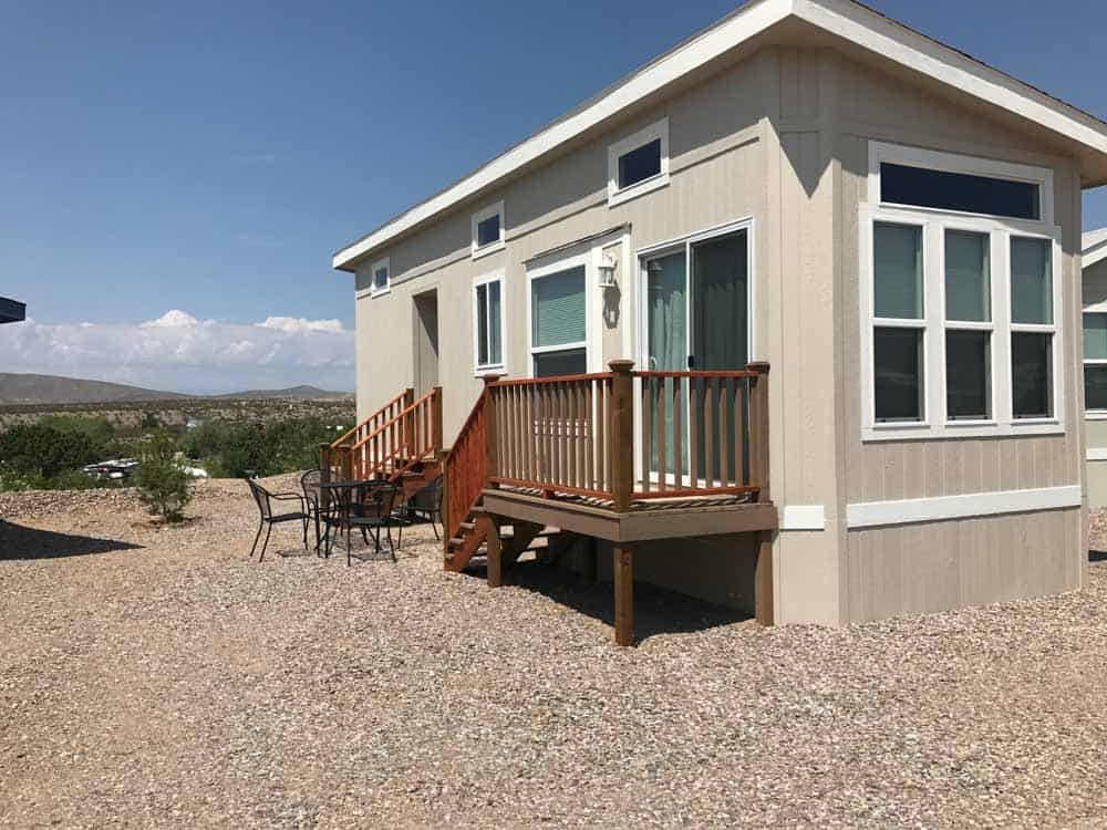 tan park model exterior at cedar cove rv park