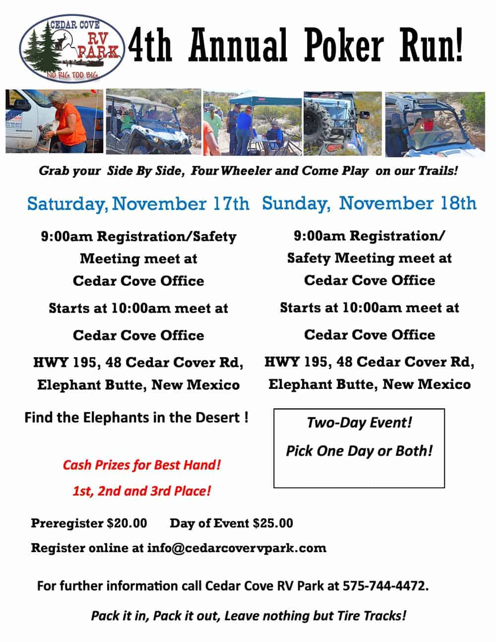 2018 november poker run at cedar cove